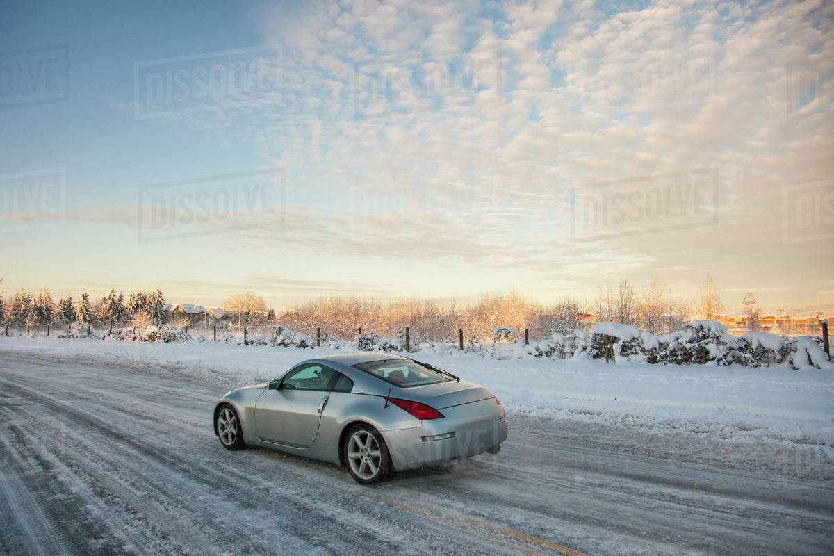 Winter driving in British Columbia, Canada Royalty-free stock photo