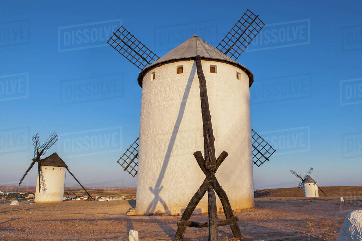 Back view of La Mancha windmills. Rising light, Campo de Criptan Royalty-free stock photo