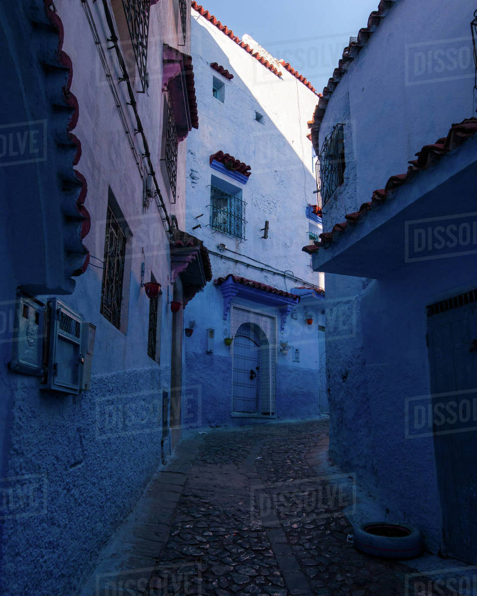 Chefchaouen blue street Royalty-free stock photo