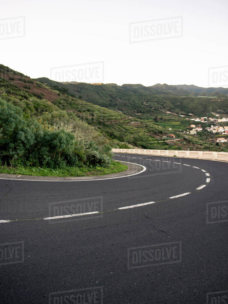 Scenic empty asphalt road through the mountains on The Canary Islands Royalty-free stock photo