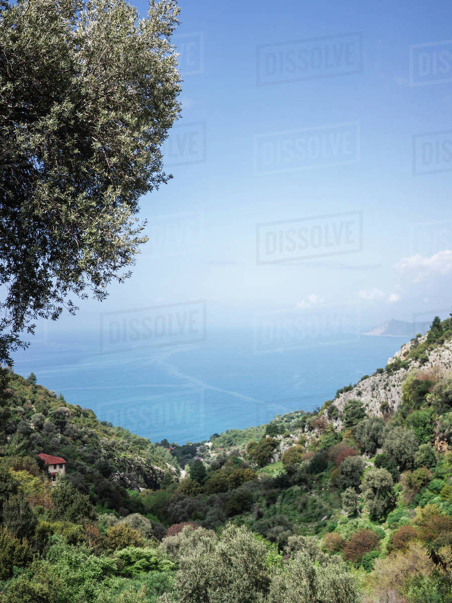 Mediterranean seascape amidst forested mountains during sunny day Royalty-free stock photo