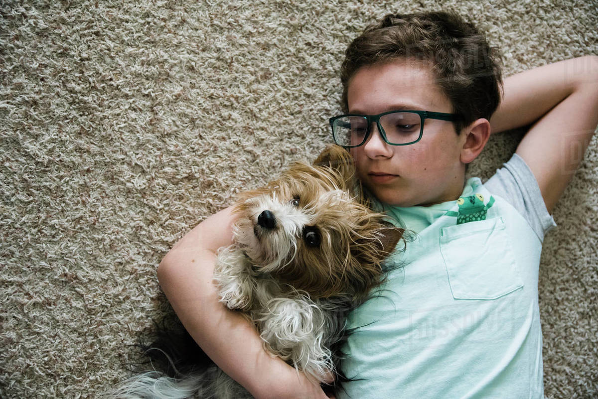 Boy and puppy lying on their back on the floor with puppy looking. Royalty-free stock photo