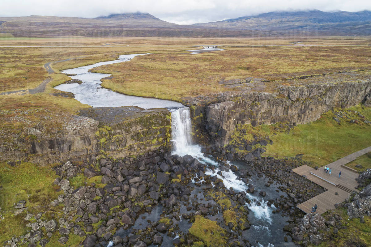 Pingvellir  national park in Iceland froma aerial View Royalty-free stock photo