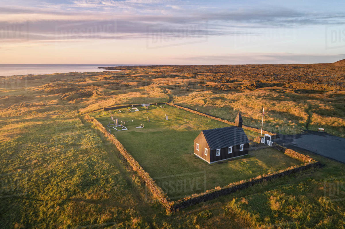 Black church of Budir from aerial view. Royalty-free stock photo