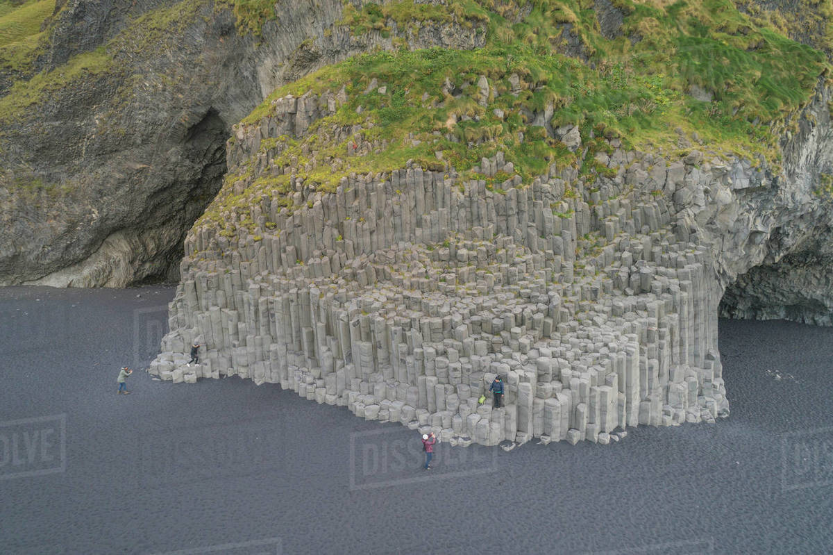 Basalt columns of Reynisfjara from aerial view. Royalty-free stock photo