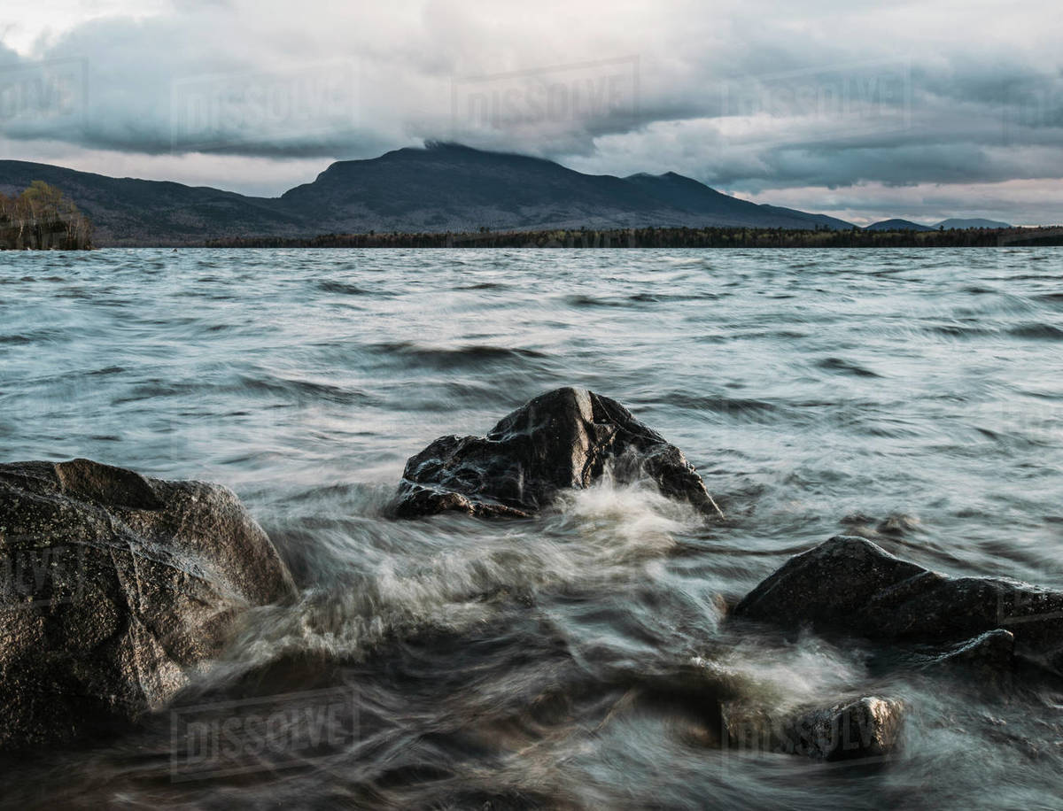 Mount Bigelow looms over Flagstaff Lake, Maine on a stormy day Royalty-free stock photo