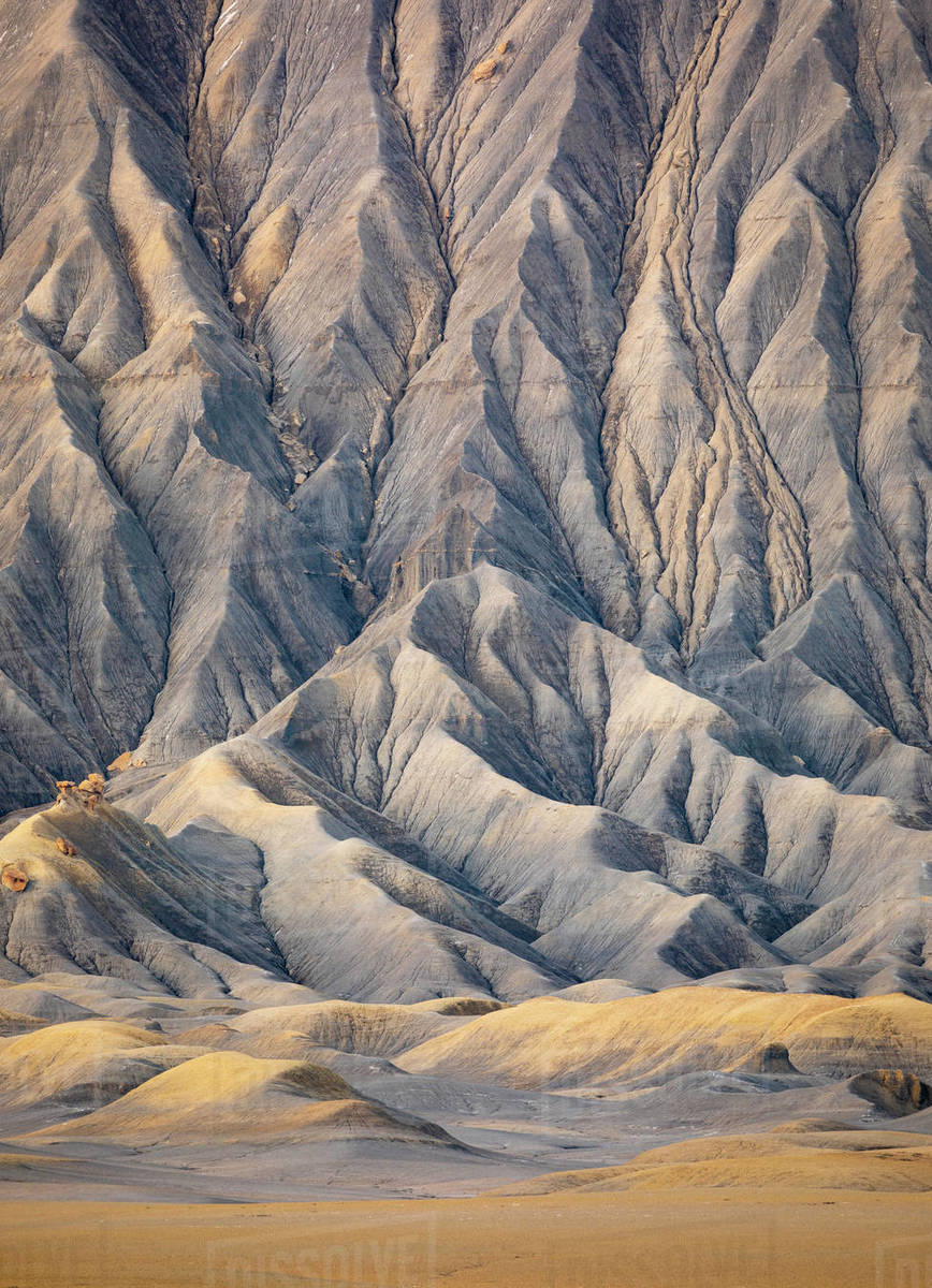 Desert landscape detail of the side of an eroding butte. Royalty-free stock photo