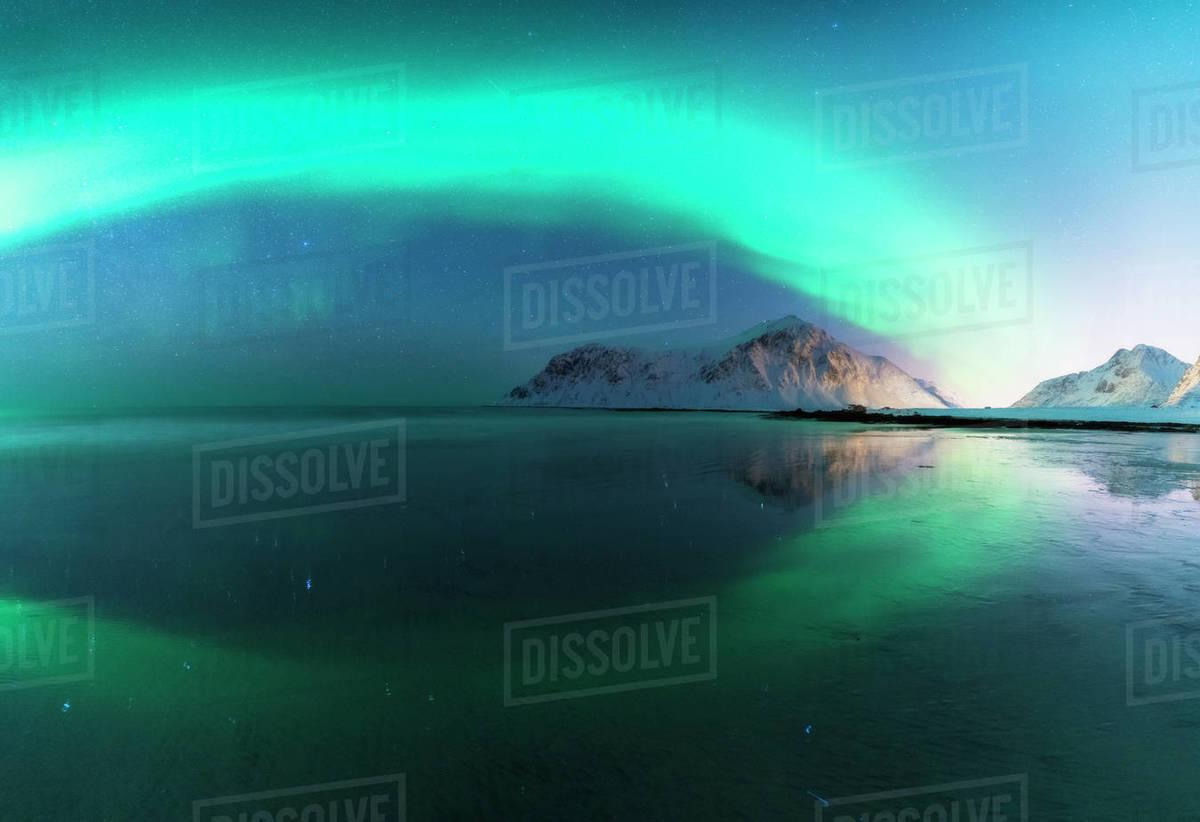 Northern Lights, Skagsanden beach, Lofoten Islands, Norway Royalty-free stock photo