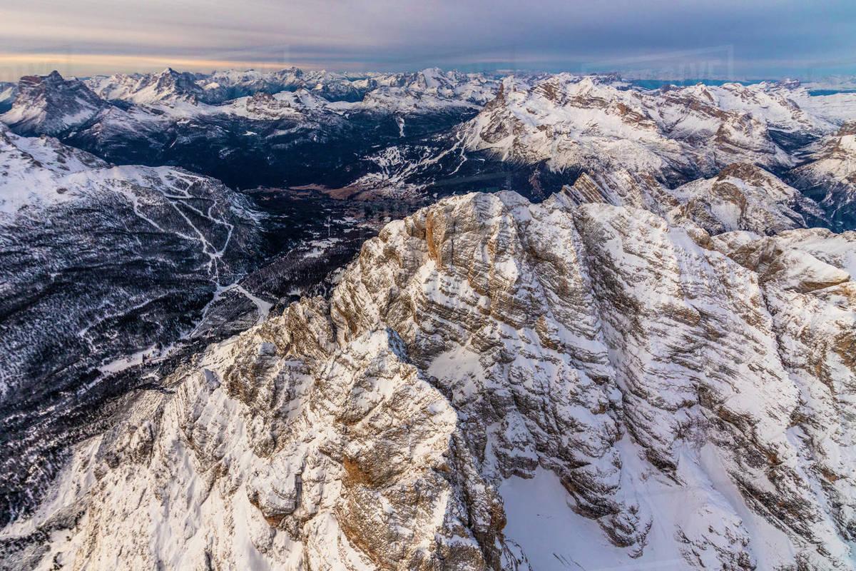 Aerial view of Monte Cristallo, Ampezzo Dolomites, Veneto, Italy Royalty-free stock photo