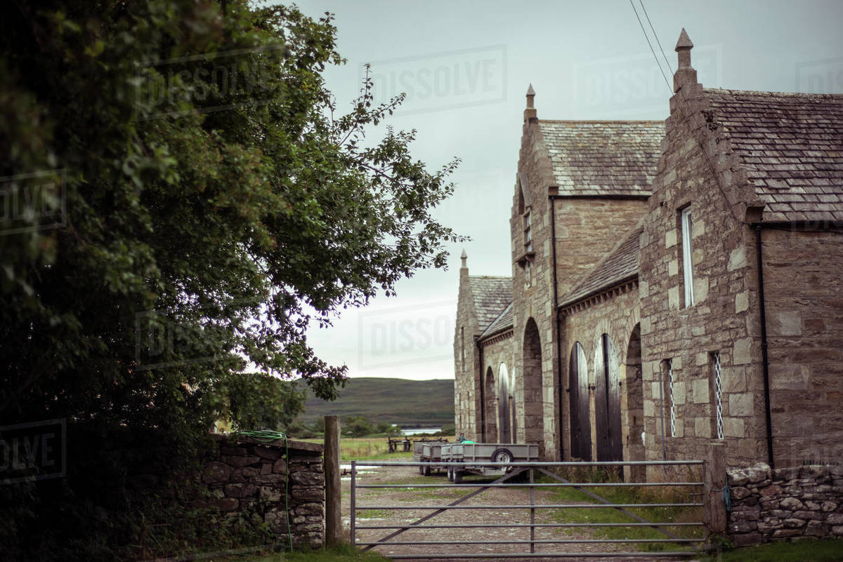 Grand stone mansion stables in remote scotland Royalty-free stock photo
