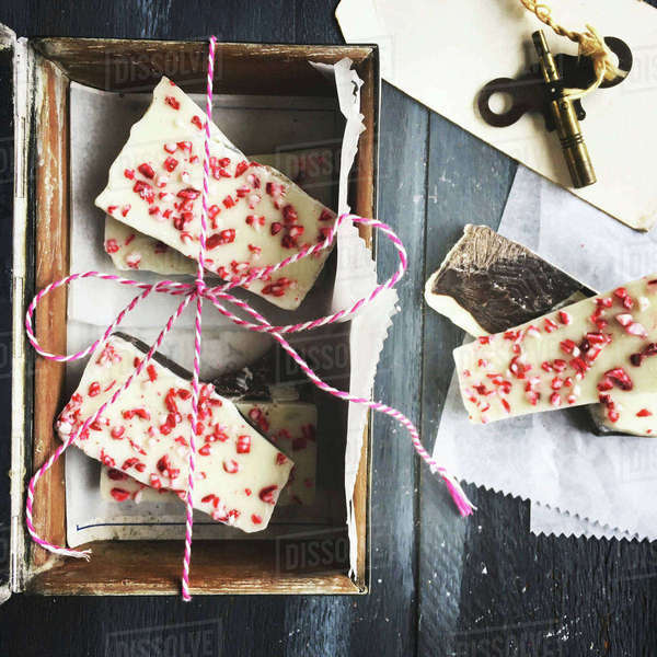 Overhead view of peppermint bark in box on table Royalty-free stock photo