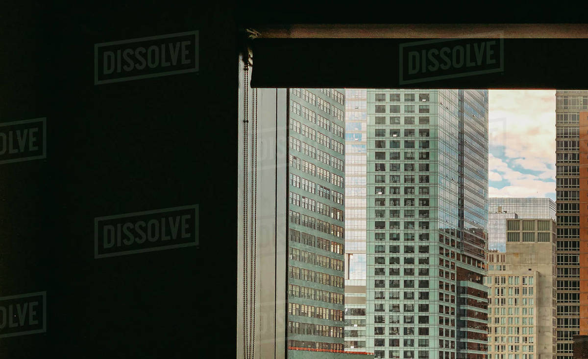 View of buildings out of window in New York City, New York, USA. Royalty-free stock photo