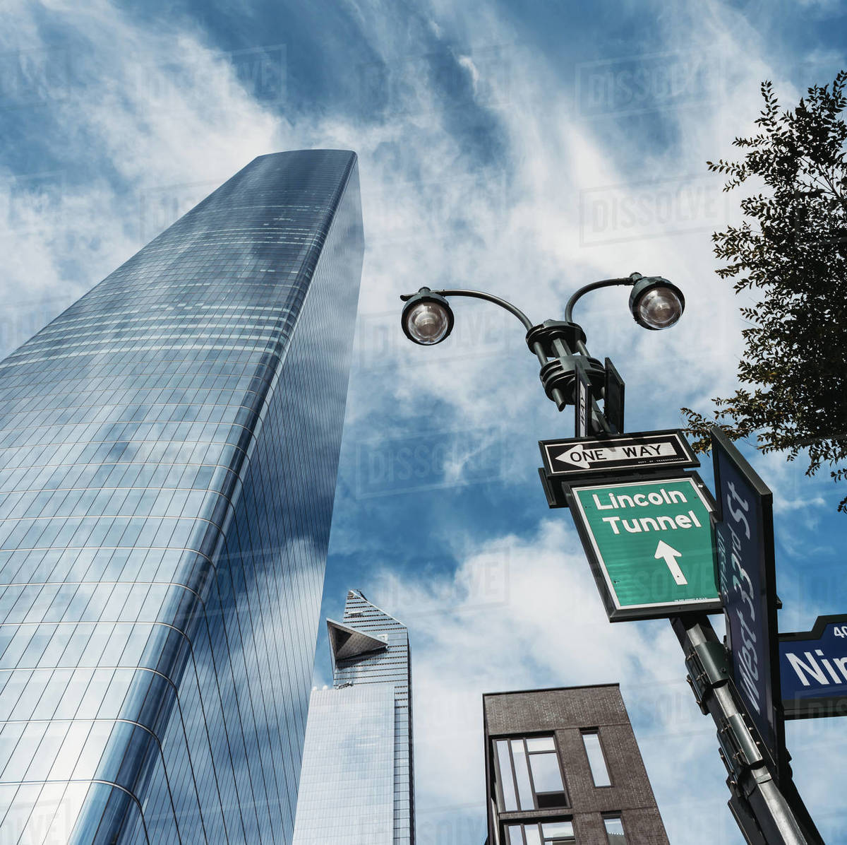 Looking up at modern skyscraper in New York City, NY, USA. Royalty-free stock photo
