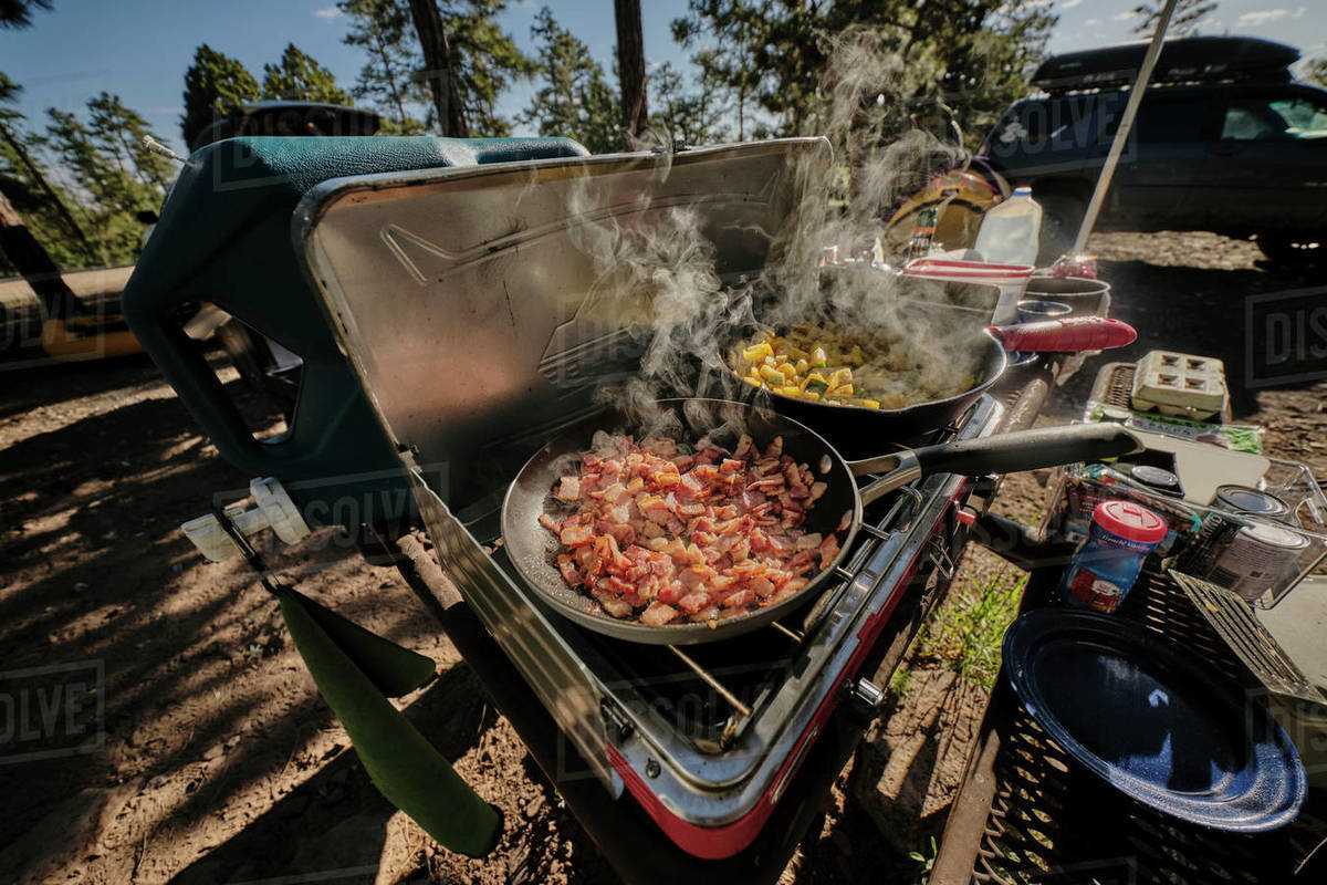Bacon and Eggs in the morning, Mogollon rim camp breakfast in Arizona. Royalty-free stock photo