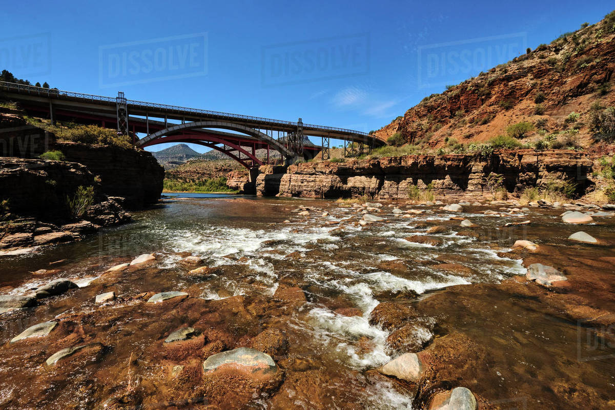 The view looking down stream at the US 60 Bridge on the Salt River AZ Royalty-free stock photo