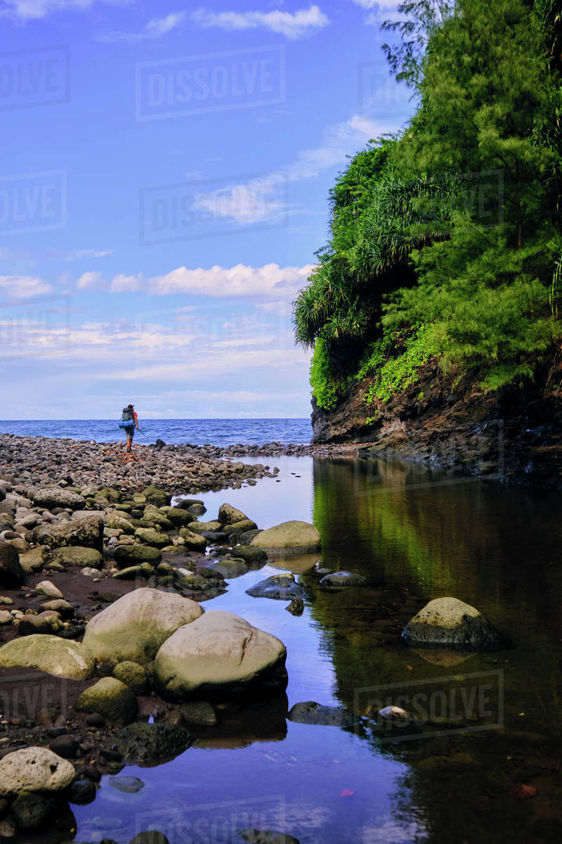 A backpacker walks along a freshwater stream to the Pacific Ocean. Royalty-free stock photo