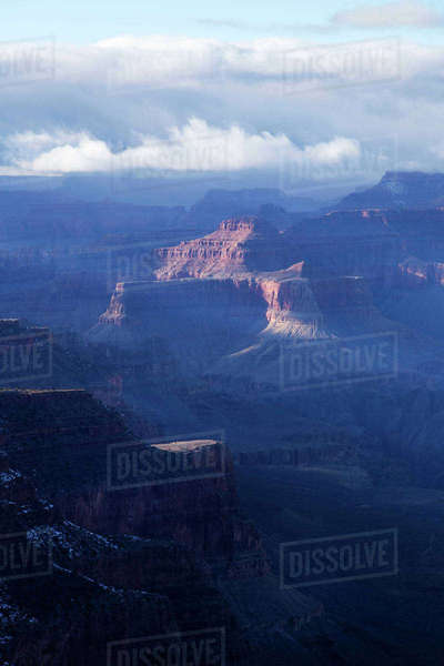 Scenic view of Grand Canyon National Park against cloudy sky Royalty-free stock photo