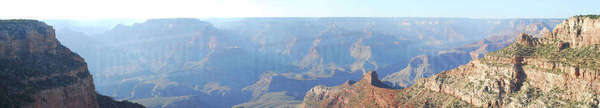 Panoramic view of Grand Canyon on sunny day Royalty-free stock photo