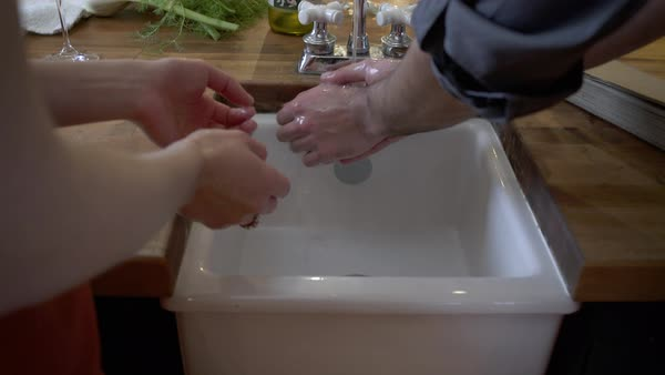 Student chefs washing their hands Royalty-free stock video
