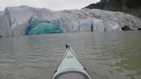 Point of view shot of kayaking to Mendenhall Glacier Royalty-free stock video