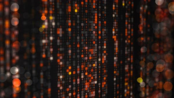 Orange matrix rain of digital HEX code and bokeh on computer screen. Seamless loop abstract technology 3D animation rendered with DOF Royalty-free stock video
