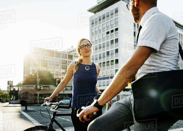 Germany, Berlin, Man and woman in city, woman smiling Royalty-free stock photo