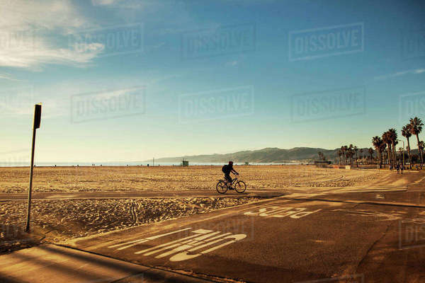 USA, California, Los Angeles, Venice Beach, One person cycling along beach Royalty-free stock photo