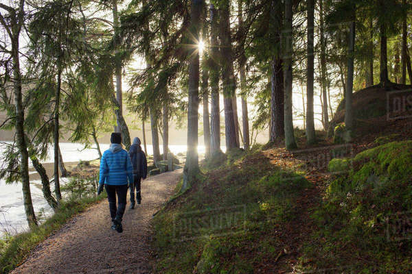 Sweden, Vastergotland, Lerum, Stamsjon, Mother and son (12-13) walking in forest Royalty-free stock photo