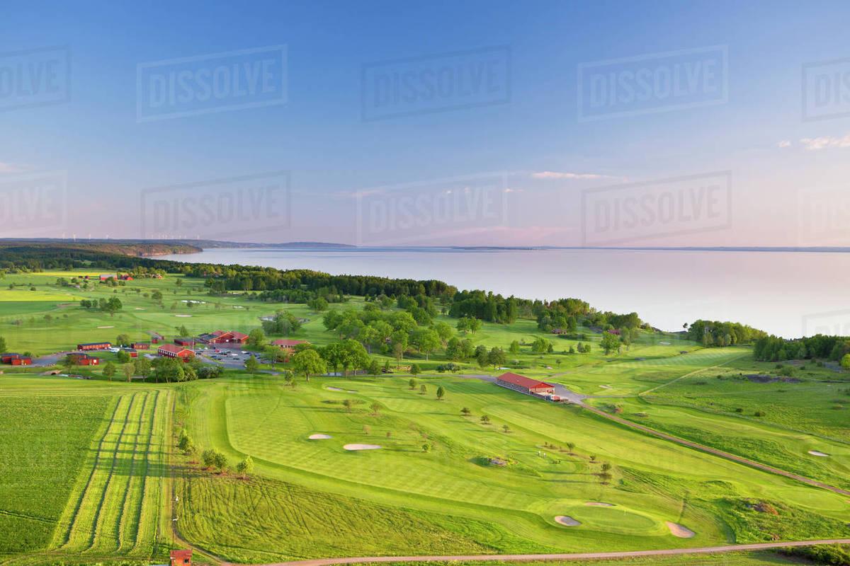 Sweden Ostergotland Odeshog Stora Lund Ombergs Golf Resort Elevated View Of Seaside Golf Course Stock Photo Dissolve