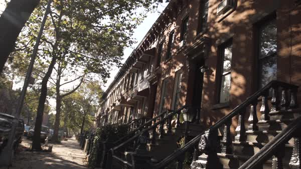 An establishing shot of Brownstones in Brooklyn, NYC Royalty-free stock video