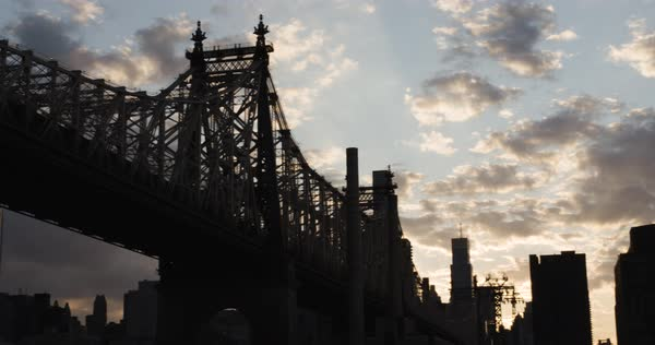 An establishing shot of New York City's Ed Koch Queensborough Bridge Royalty-free stock video