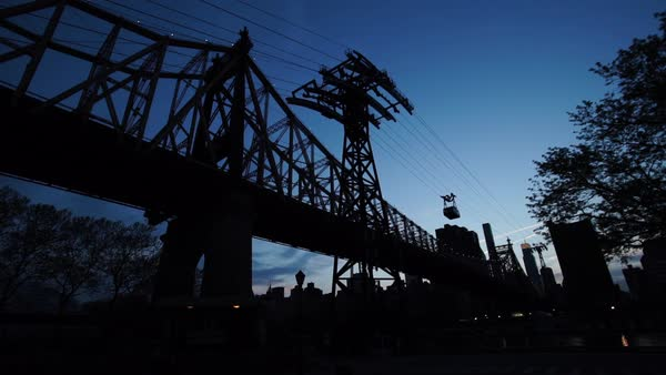 A tracking shot of New York's Queensborough Bridge as flowers blossom in the spring air Royalty-free stock video