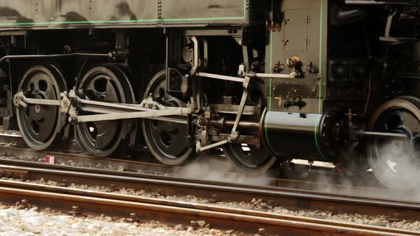 Steam engine locomtive train passing by on railway. old historical technology background Royalty-free stock video
