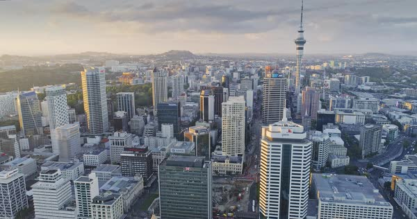 Aerial View Of Auckland City Skyline, New Zealand Royalty-free stock video