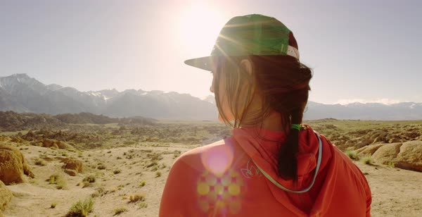 Hand-held shot of a woman enjoying view of Alabama Hills Royalty-free stock video