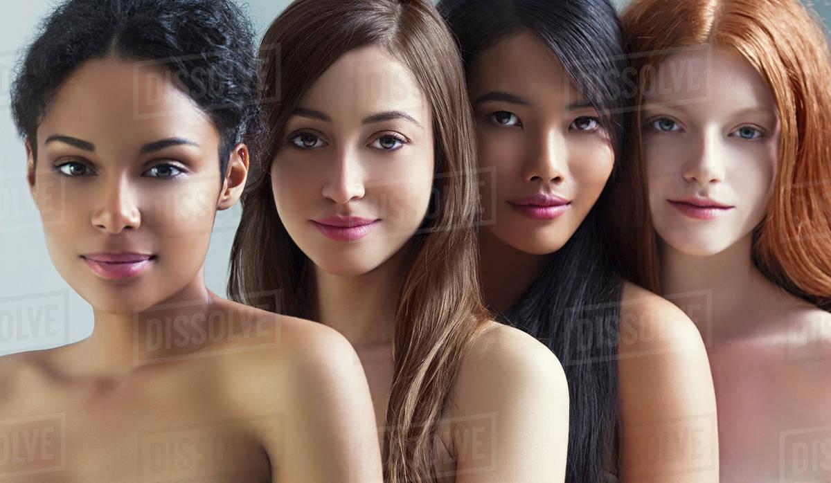 Multi-Ethnic Nude Women Posing Together - Stock Photo -9948