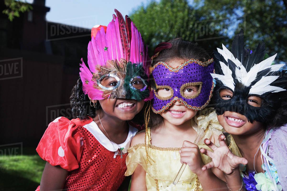 African girls wearing masks Royalty-free stock photo
