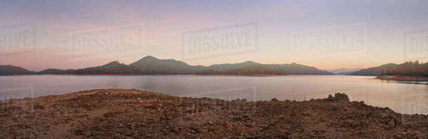 Panoramic view of lake in remote landscape Royalty-free stock photo