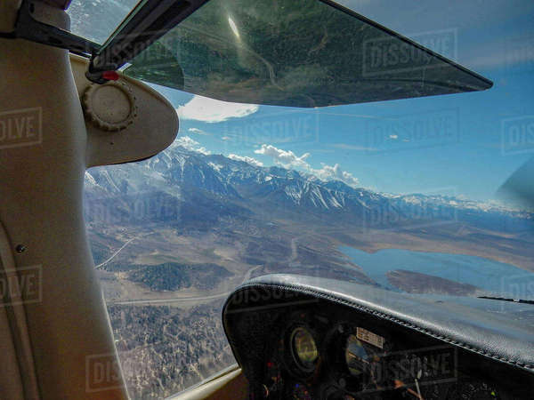 View of lake and mountains from cockpit, Bishop, California, United States,  Royalty-free stock photo
