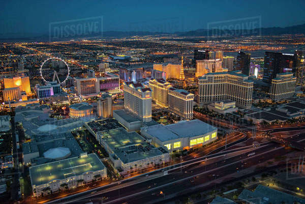 Aerial view of illuminated cityscape, Las Vegas, Nevada, United States,  Royalty-free stock photo
