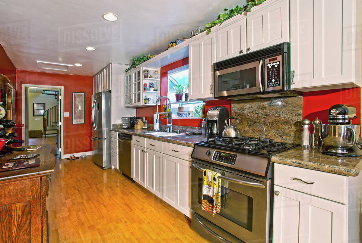 Interior Of Kitchen In Middle Class Home Laguna Beach California