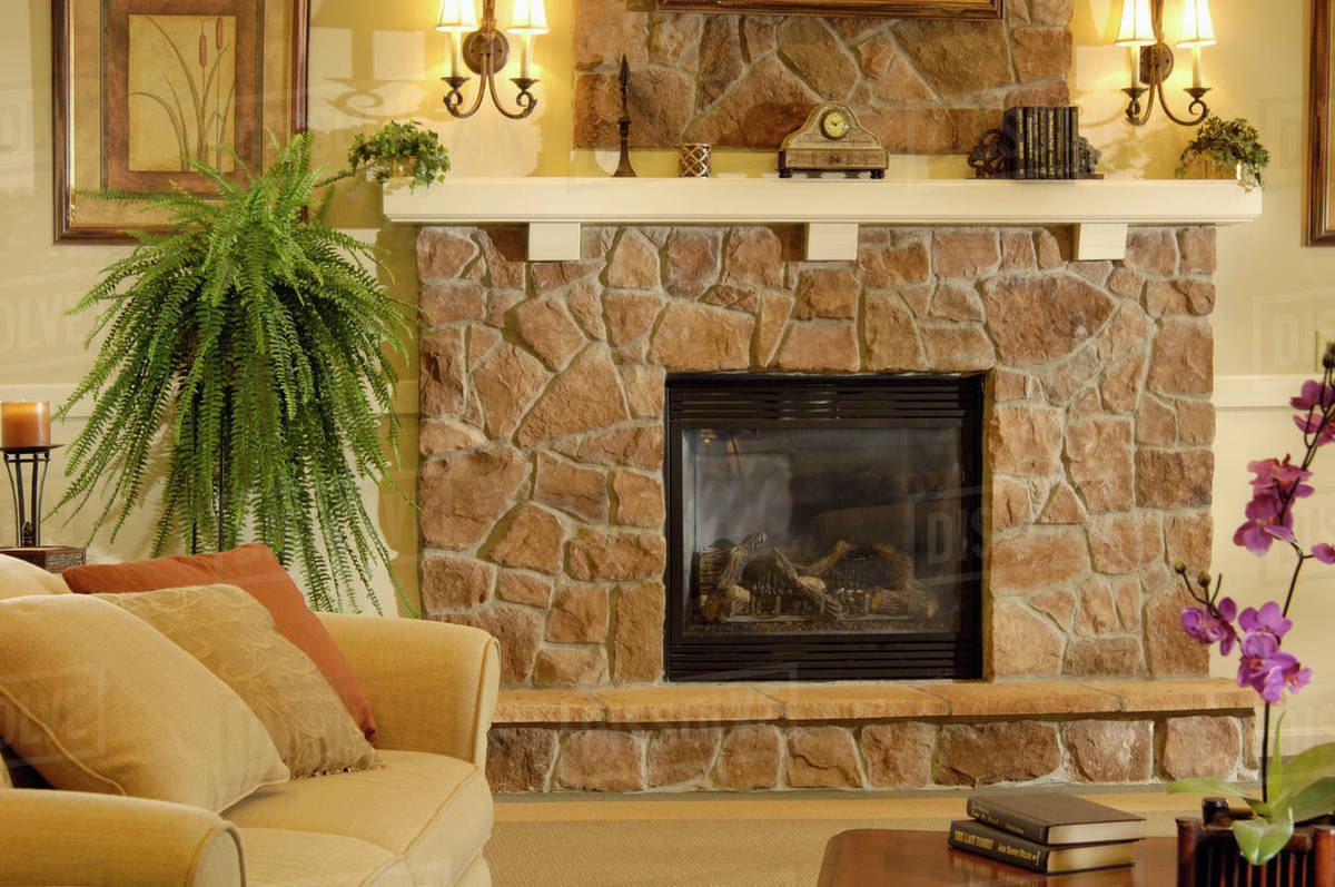 Close Up Of Traditional Living Room With Stone Fireplace D145 200 292