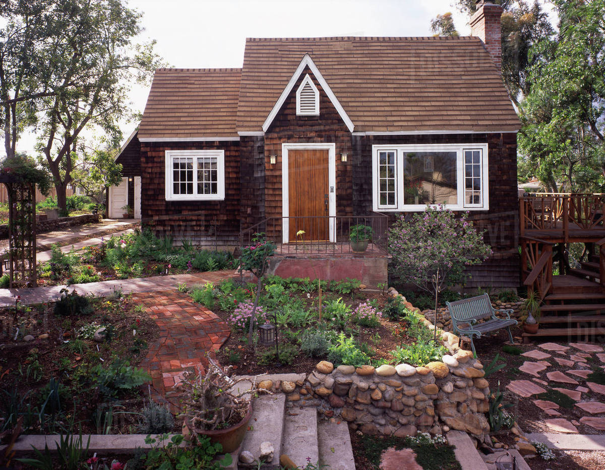 Surprising Front Exterior Wooden Cape Cod Cottage And Landscaping Stock Photo Download Free Architecture Designs Sospemadebymaigaardcom
