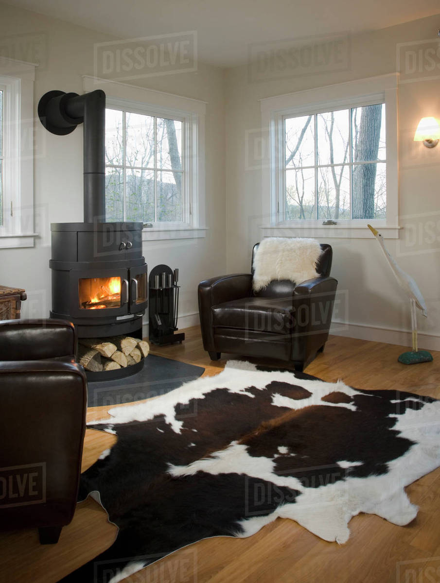 Living room with wood burning stove and animal skin rug D145_200_536