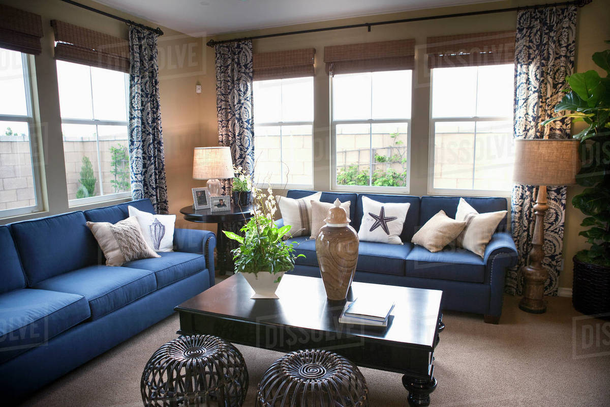 Blue sofas in traditional living room ,Tustin, California, USA stock photo