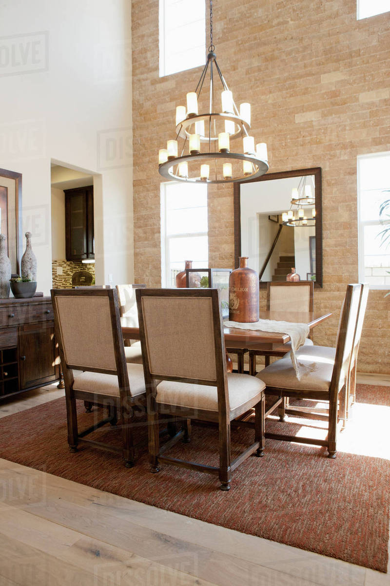 Chandelier Above Dining Table Stock