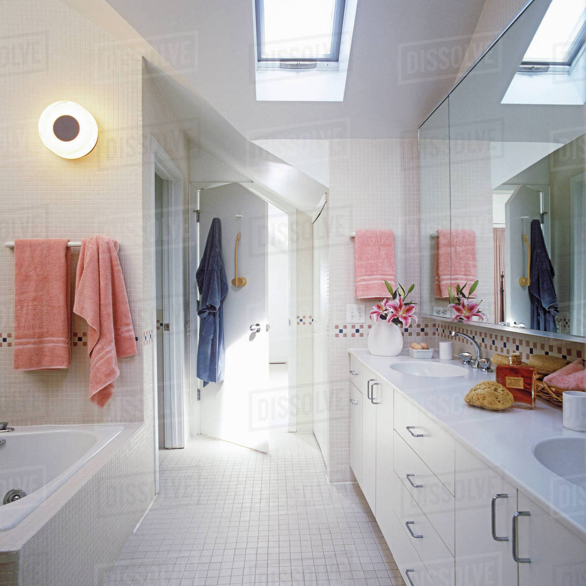 White attic bathroom, wall to wall ceramic tile, small square white ...