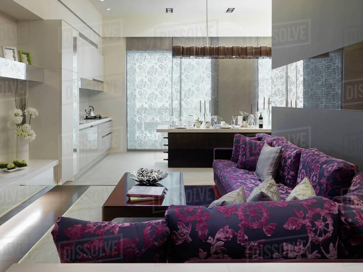 Modern Purple Sofa Outside Kitchen Stock Photo Dissolve