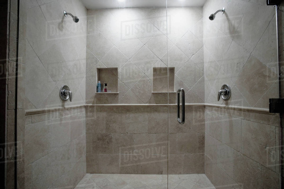 Detail Of Dual Stone Showers With Glass Door D145 203 832