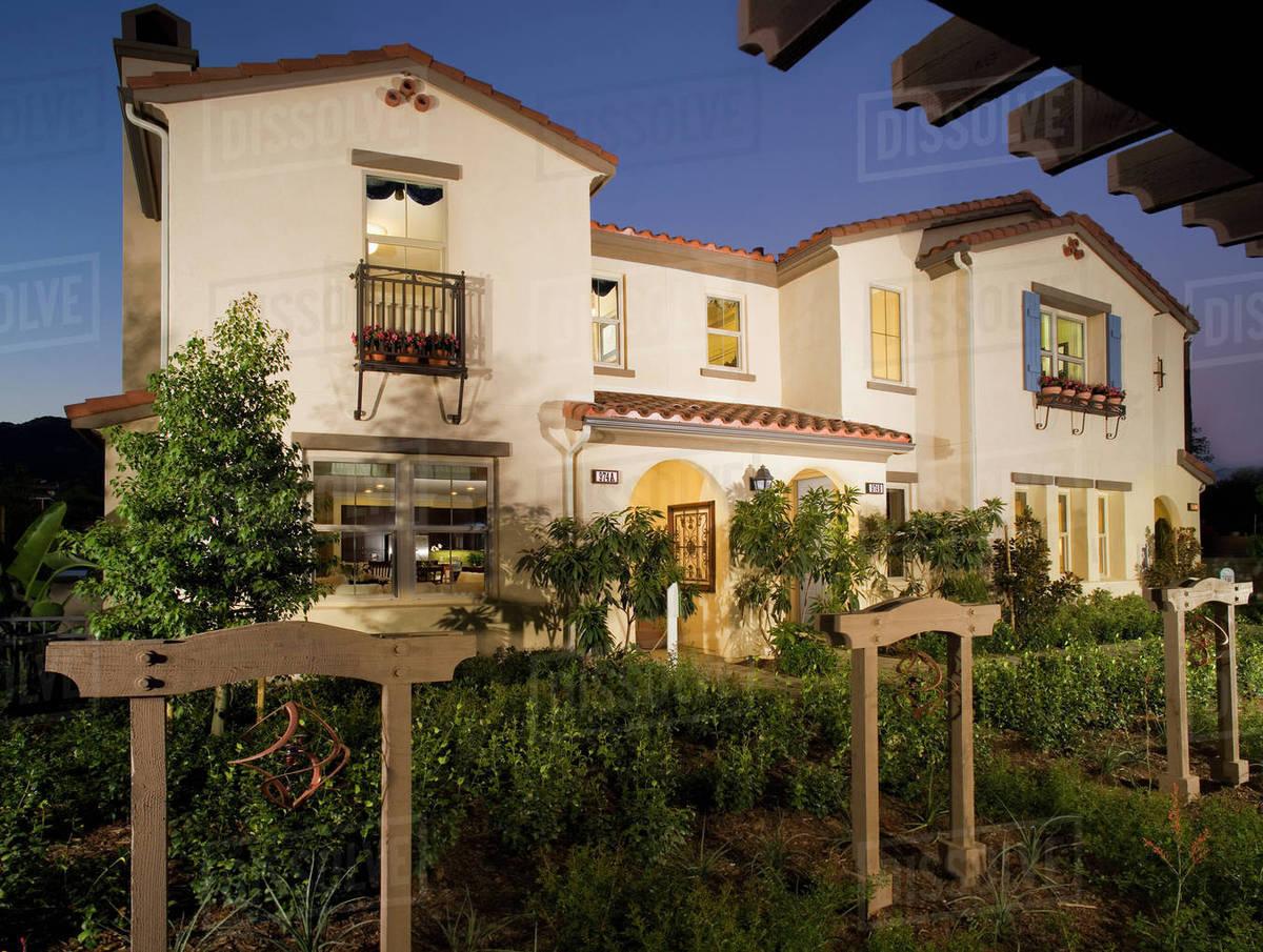 Elegant Front Exterior Spanish Style Homes At Dusk